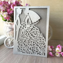 30pcs Laser Cut Wedding Party event decoration Invitation cover paper Card wedding wishing well card bridal shower greeting card(China)