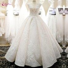 Vestido de novia con escote en V de flores 3d vestido de novia de línea A con elegante falda de encaje para novia