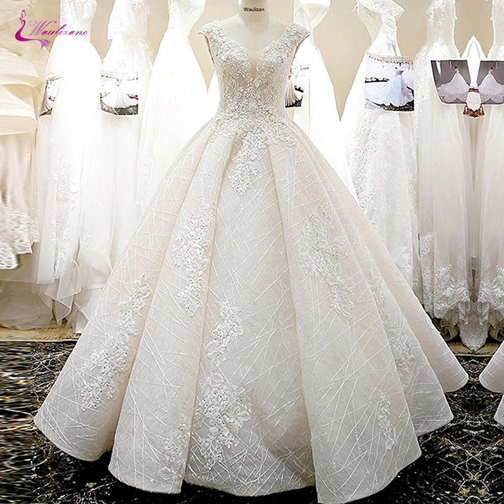 Waulizane V-Neckline Of 3d Flowers A Line Wedding Dress With Elegant Beading Skirt Of Lace Up Bride Dress