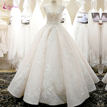 Waulizane V Neckline Of 3d Flowers A Line Wedding Dress With Elegant Beading Skirt Of Lace Up Bride Dress