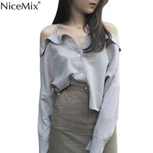 NiceMix 2019 Spring WomenS Clothing New Elephant Loose Casual Sexy Tops Vogue Fashion Sling Bare Shoulder Long Sleeve Blouse Sh