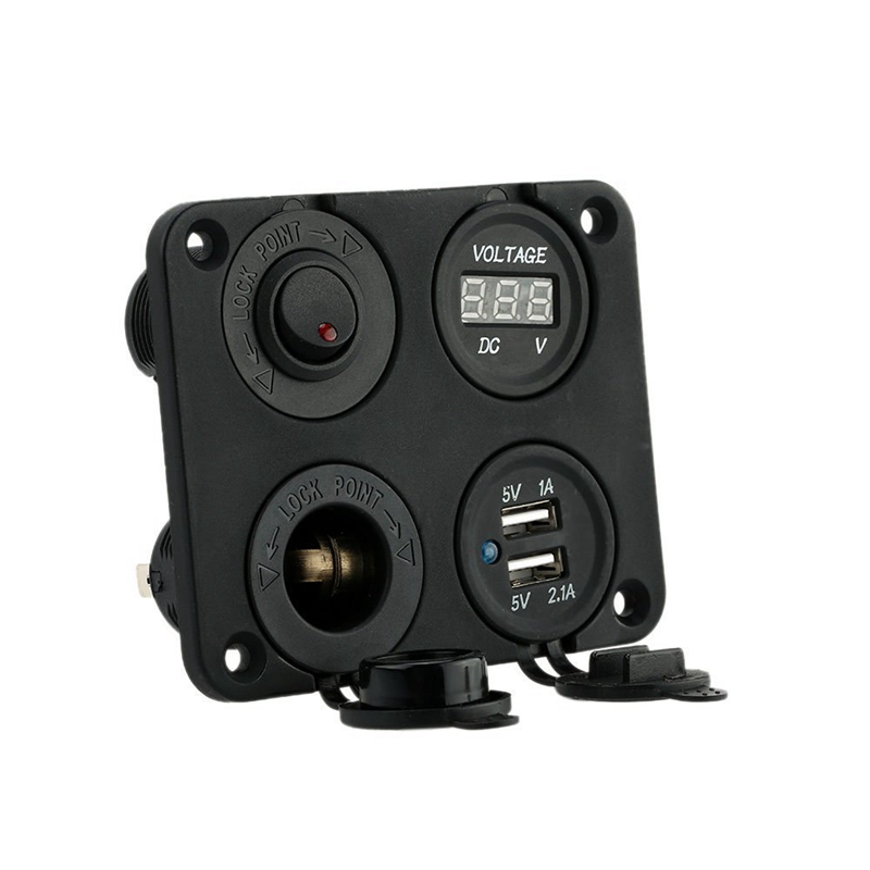 Universal 12V-24V 4 Hole Pane Base Kit Dual USB Charger DC Meter Power Socket ON-OFF Button Switch For Car