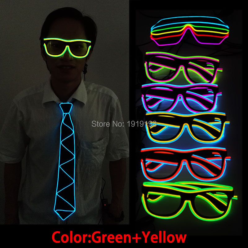 NEW Style Double Color EL Glasses El Wire Fashion Neon LED Strip Light Up sunglasses Shaped Glasses for Party wedding decoration
