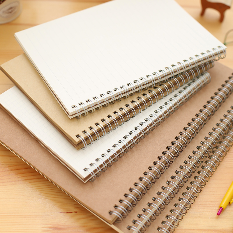 B5 A5 16K 25K Coil Spiral Notebook, Small rings Journal Book , Students drawing Graphic Kraft Cover BookB5 A5 16K 25K Coil Spiral Notebook, Small rings Journal Book , Students drawing Graphic Kraft Cover Book