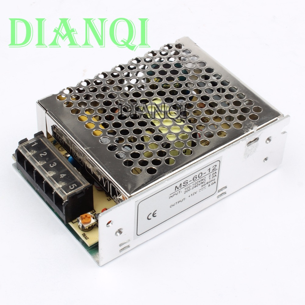 power supply 60w 12v 5A power suply unit 60w 12v mini size ms-60-12 led ac dc converter y 12 5 60w waterproof electronic led power supply 12v 5a