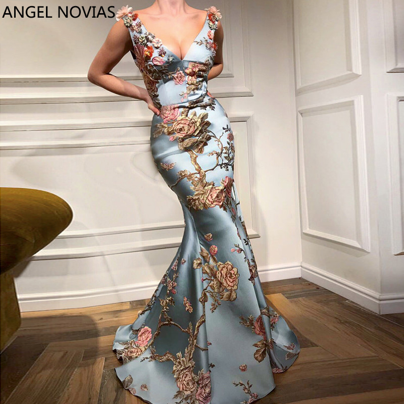 ANGEL NOVIAS Long Elegant Abendkleider Dubai Mermaid V-neck   Evening     Dress   2018 Printed Flowers Prom   Dress   Vestido Largo Noche
