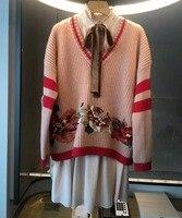 2017 Женский повседневный комплект из двух предметов, шерстяной свитер и шелковое платье, восхитительный кардиган, пуловер и шифоновое плать