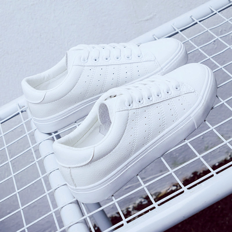 2018 new womens shoes spring summer fashion white sneakers women leather women vulcanized shoes flats breathable solid color