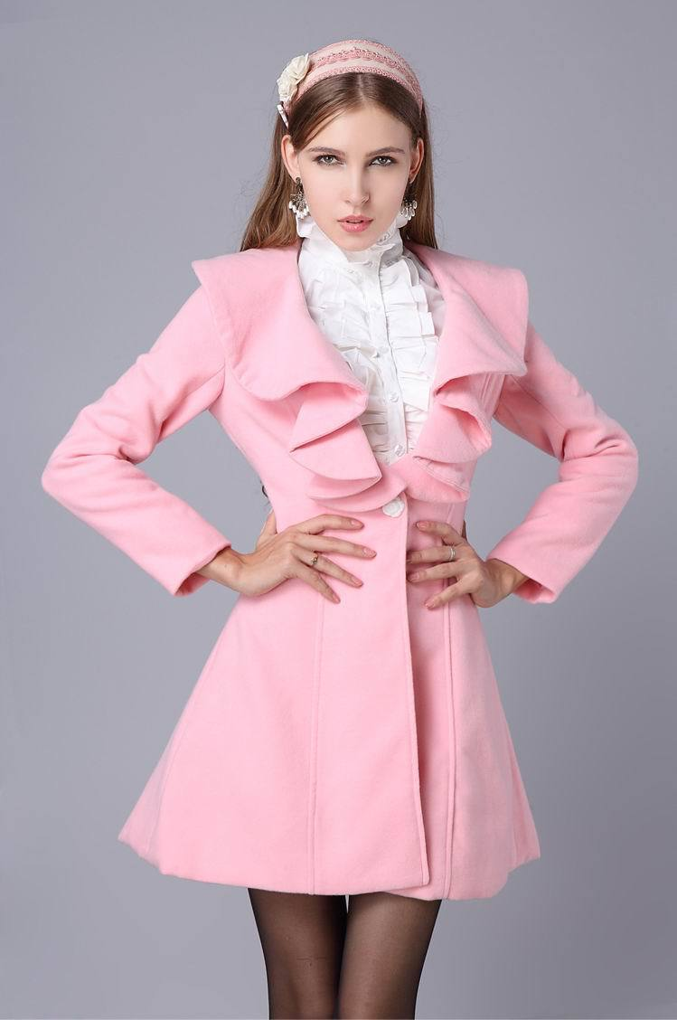 Nice quality 2014 autumn&winter fashion women wool coat Pink/Black ...