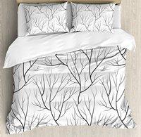Постельное белье, зима дерево без листьев Природа тема нежный узор ветвей японский Стиль, 4 шт. Постельное белье