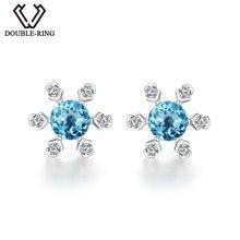 DOUBLE-R 925 Sterling Sliver Fine Jewelry Blue Topaz Stud Earrings Snow Flower Women Earrings Romantic Girls Gift CASE00711B