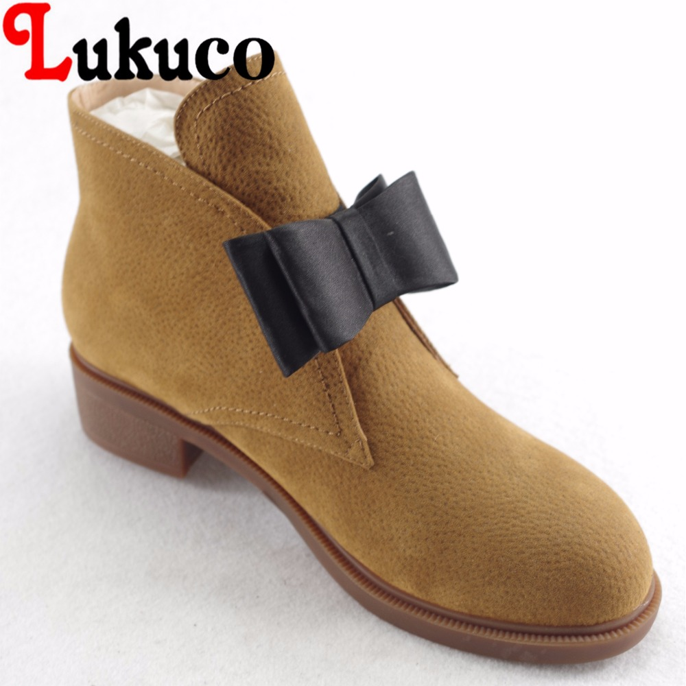 Lukuco pure color women ankle boots microfiber made butterfly-knot design low hoof heel shoes with pigskin inside lukuco pure color women mid calf boots microfiber made buckle design low hoof heel zip shoes with short plush inside