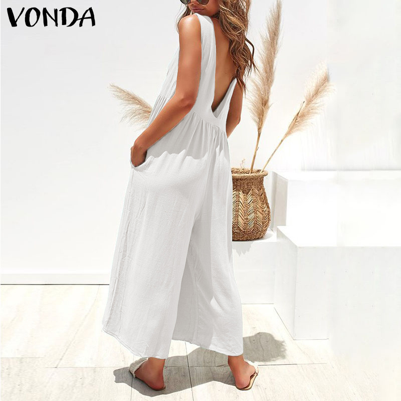 VONDA 2019 Summer Romper Womens Jumpsuits Sexy Sleeveless Playsuit Holiday Overalls Casual Ankle-Length Wide Leg Pants Plus Size