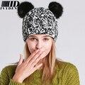 2016 de moda de Nova Chapéus de Inverno Para Mulheres Gorros Pompom Chapéu Feito Malha Panda bonito Mickey Chapéu Gorros Algodão Quente Chapéu Com Orelhas de Gato