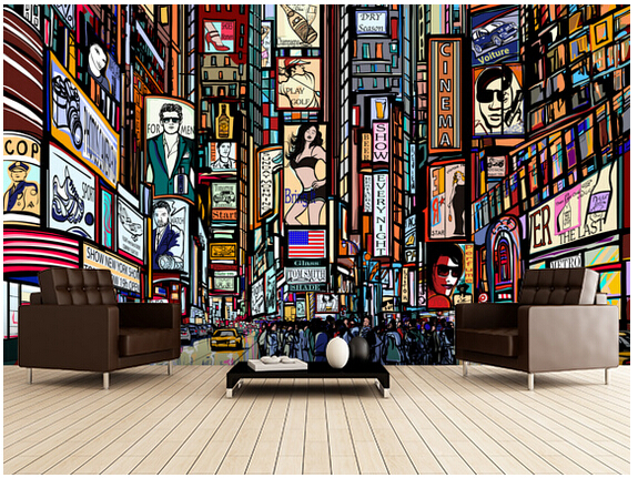 Custom 3D Retro Wallpaper Times Square Mural For The Living Room Bedroom TV Background Wall