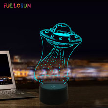 UFO 3D Illuson Optical Spaceship Night Lamp LED 7 Colors Desk Lights Kids Toy Gift Decor