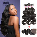 8A Brazilian Body Wave With Frontal Closure 3 Bundles Mink Brazilian Hair With Closure Cheap Virgin Hair With Closure Bundle