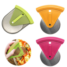 Pizza Wheel Round Shape Cutter Plastic Handle Cake Bread Knife Safety Protective Kitchen Tool