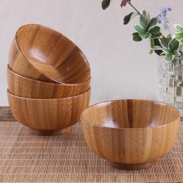 Criativo de madeira bowls crianças Bebê talheres pratos de salada ramen macarrão instantâneo arroz para alimentar saúde Chinês forte de bambu presente