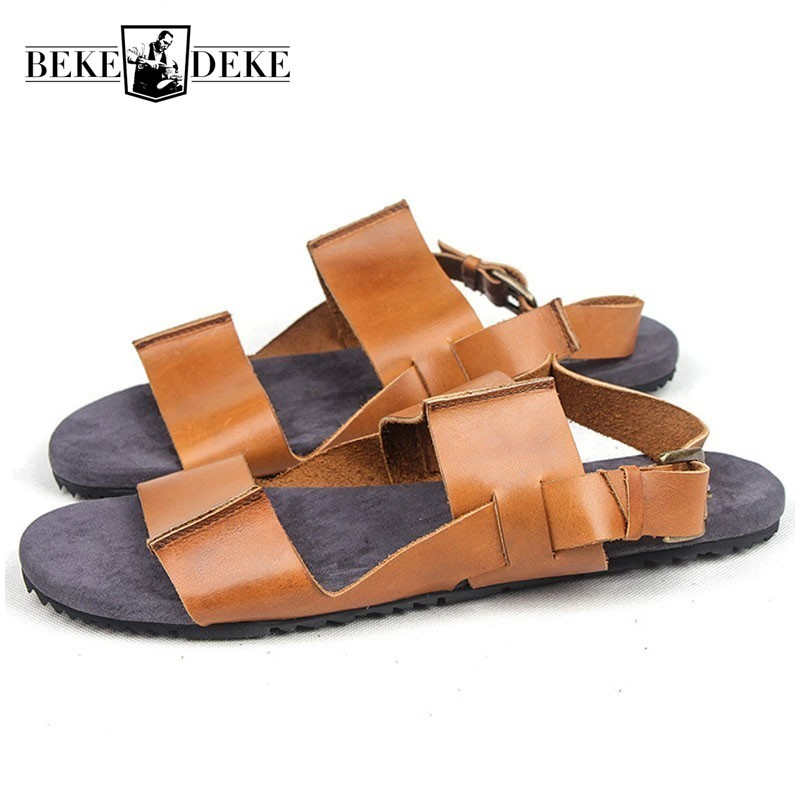 Summer New Mens Shoes Genuine Leather Roman Sandals Vintage Casual Open Toe Outdoor Non-slip Walking Sandalia Masculina Slides