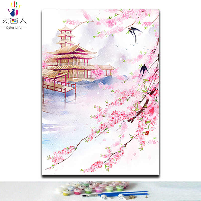 diy paint by numbers Traditional chinese style landscape flowers animals pictures coloring painting by numbers 40x50 framed