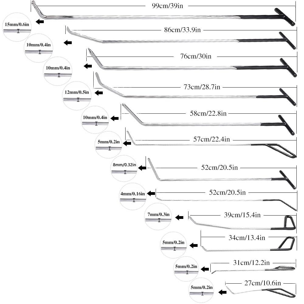 PDR įrankių komplektas be dažų dantų taisymo kabliai stūmimo - Įrankių komplektai - Nuotrauka 2