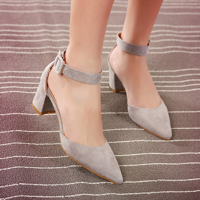 3bc02aabad5 Velvet package with banding strap pointed toe in with sandals thick heels  shoes grey black