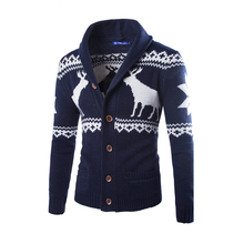 2017 Autumn Fashion Casual Men Sweater Cardigan Fashion Cute Christmas Reindeer Sweater Men Knitted Christmas Clothing