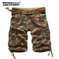 TACVASEN New Summer Style Mens Cargo Shorts Casual Cotton Multi Pocket Shorts Camouflage Military Tactical