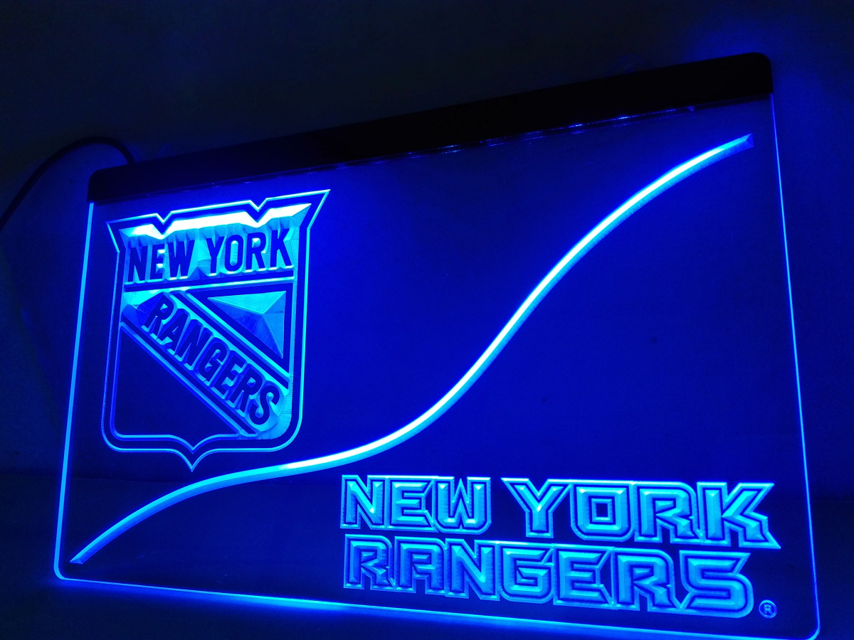 Ld530 new york rangers led neon light sign home decor for Room decor neon signs