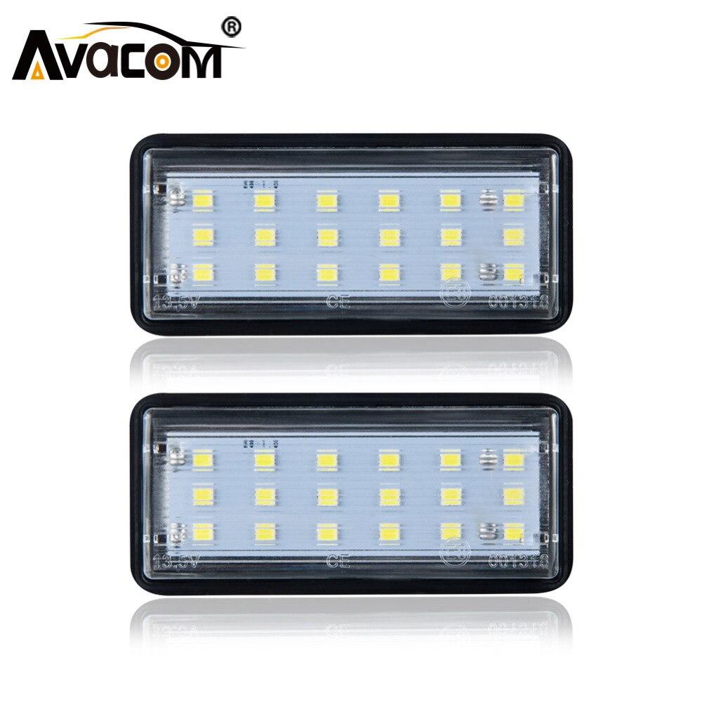 Avacom 2Pcs Error Free 12V LED Auto Number License Plate Lights For Toyota Land Cruiser/Reiz 4D/Mark X/Lexus LX470 LX570 GX470