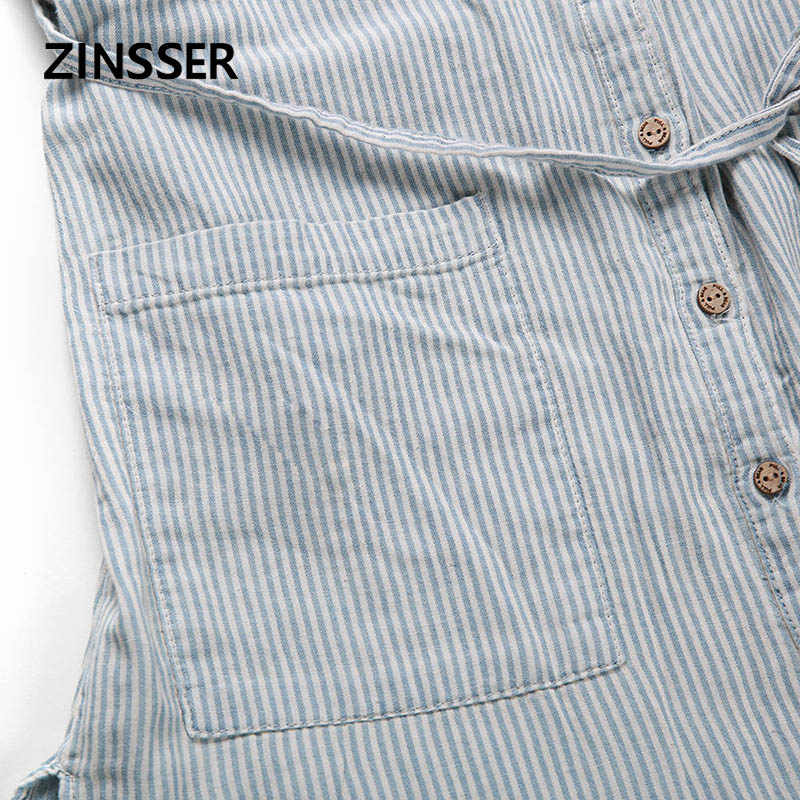 秋冬女性デニムシャツロングゆるいカジュアルなストライプ半袖と 2 ポケット洗浄ブルー女性ブラウストップ