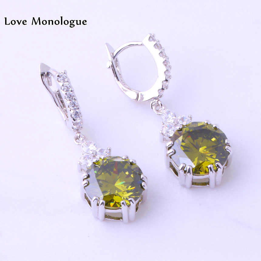 Love Monologue Swaying Green imitation Peridot & White Cubic Zirconia Silver Color Drop Earrings For Womens Jewelry J0025