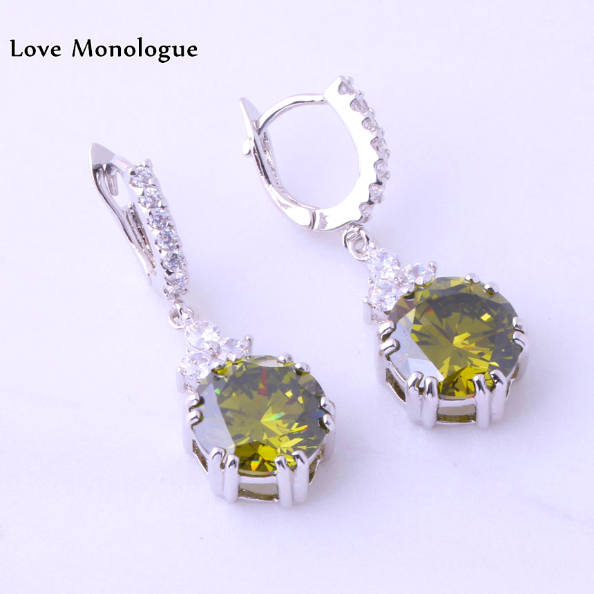 Cinta Monologue Berayun Hijau imitasi Peridot & Putih Cubic Zirconia - Perhiasan fashion