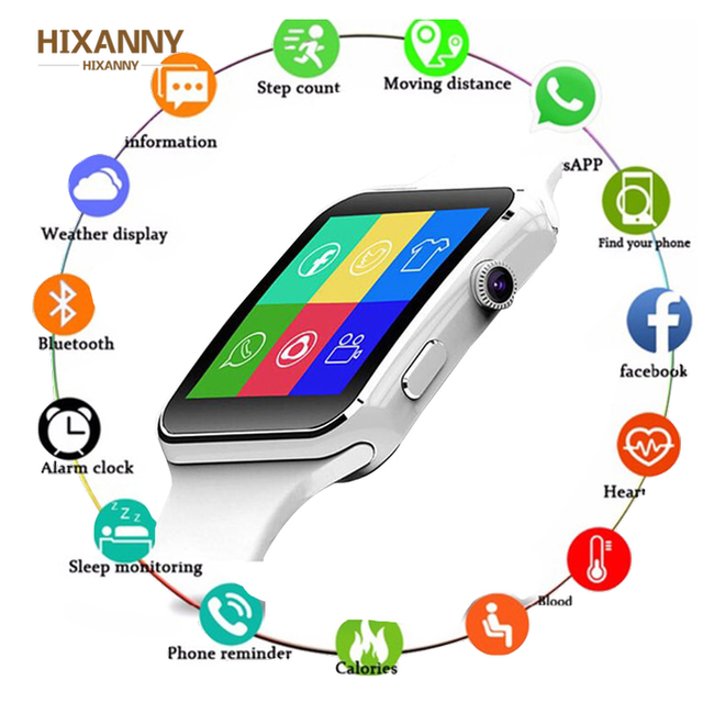 2019 akıllı saat destek SIM TF kart h kamera Smartwatch Bluetooth arama/kamera dokunmatik ekran ile iPhone Xiaomi Android için IOS