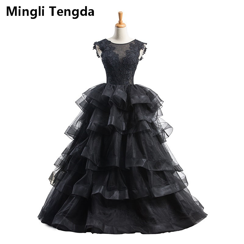 Mingli Tengda Black Wedding Dress Ruffled Perspective Noble Backless Wedding Dresses Illusion Tiered Bride Gowns Trouwjurk New