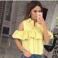 2017 Spring Tops blouse shirt ruffles summer blouse shirt women striped off shoulder short shirt casual