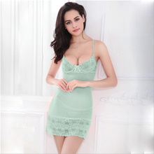 CR Lace Dress Sexy Sleepwear Female Temptation Women's Summer Lace Nightgown Spaghetti Strap Belt Underwear AP237