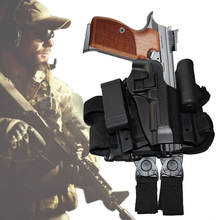 CQC Pistol Drop Right Leg Holster With Flashlight Pouch Gun Beretta M9 M92 96 Hunting Accessories For Tactical Airsoft