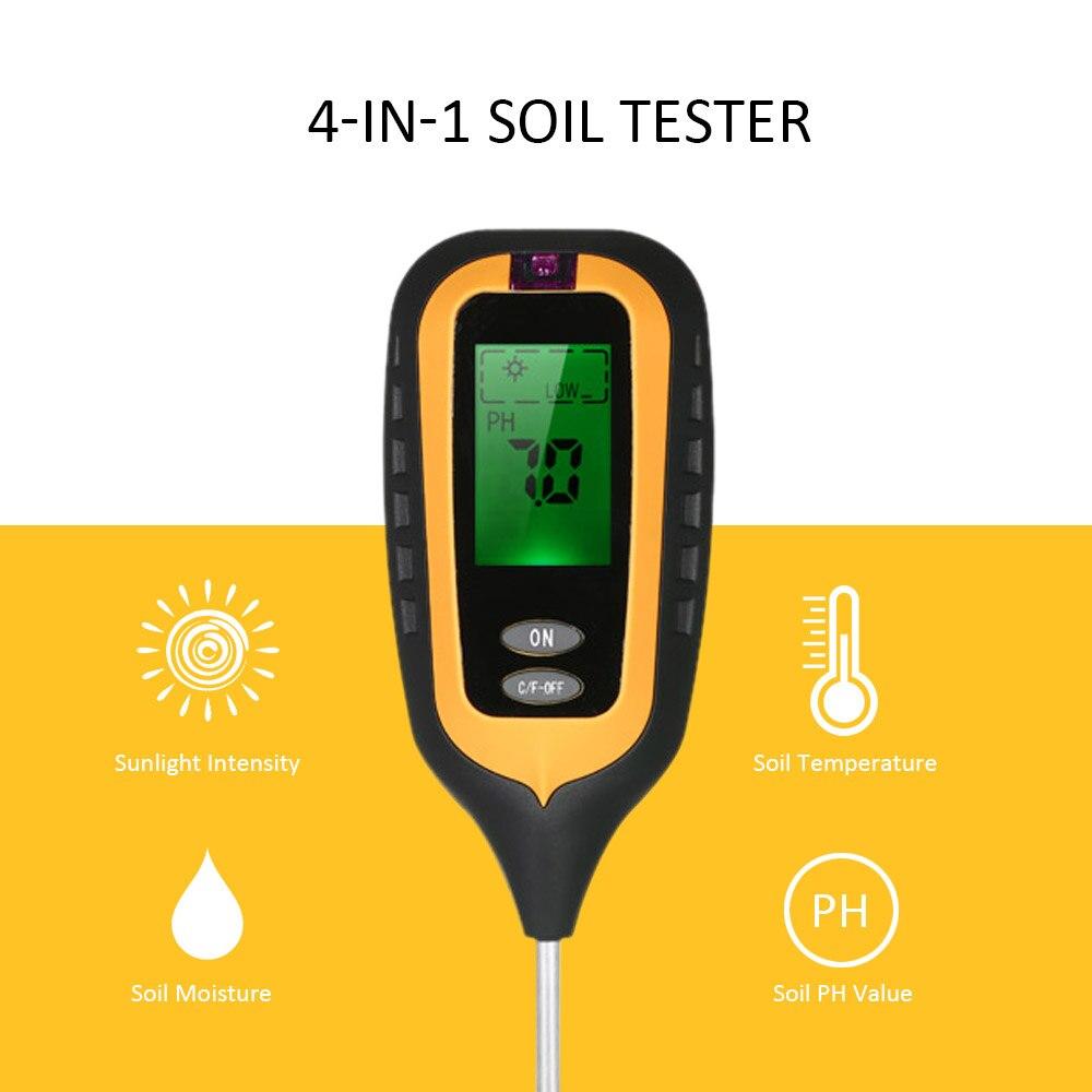 4 dans 1 sol ph mètre Du Sol Testeur PH Humidité Température Intensité De La Lumière Lumière Du Soleil pH Testeur Humidimètre
