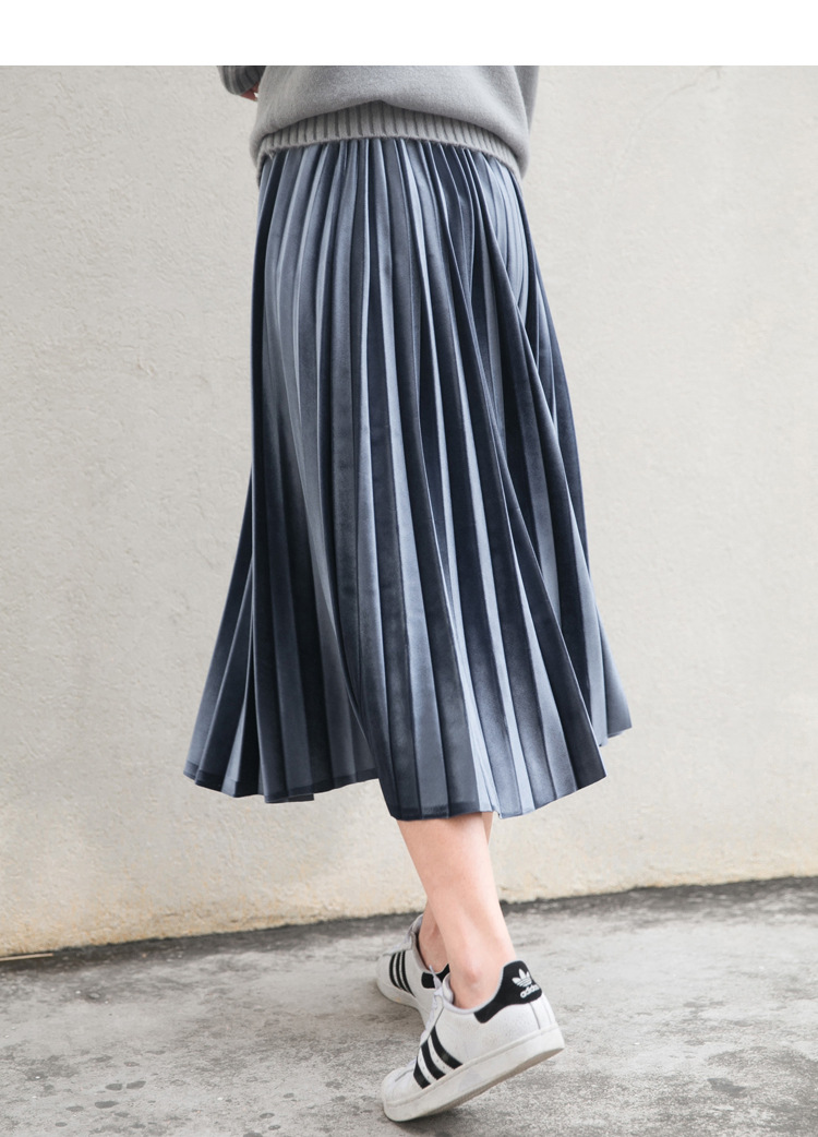 Women Long Metallic Silver Maxi Pleated Skirt Midi Skirt High Waist Elascity Casual Party Skirt 7