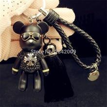 Luxury Leather Handmade Tassel Bear Keychain
