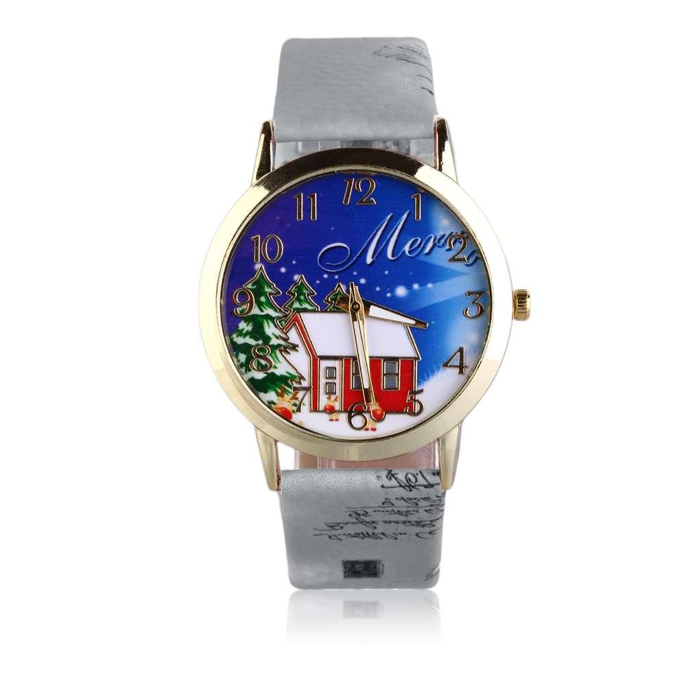 Excellent Vintage Men Wome Unisex Christmas Santa Snowman Pattern PU Leather Strap Quartz Wrist Watches Gift