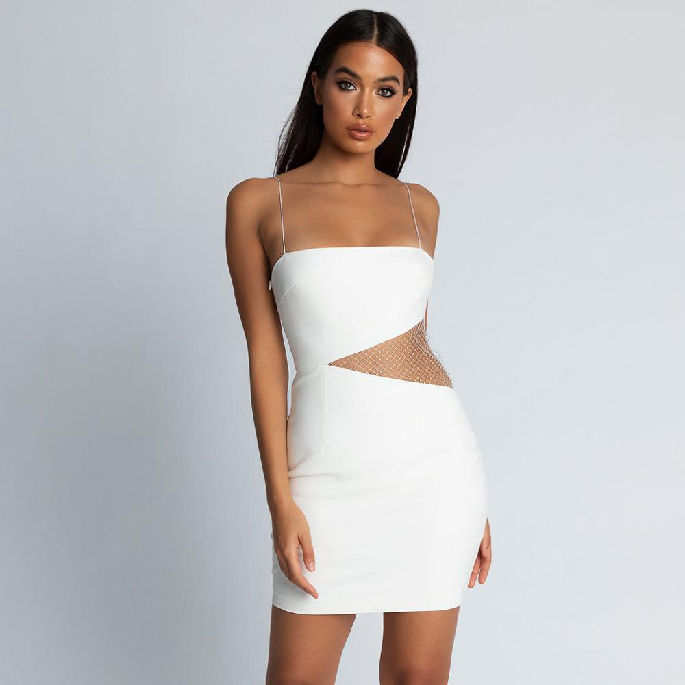 Summer 2019 Sexy Bandage Dress White Hollow Out Mesh Vestidos Dresses Club Evening Party Dresses