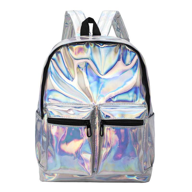 b8e53b5108d4 Женский рюкзак голограмма лазерные Рюкзаки Женские Простые сумки кожаные  голографические рюкзаки высокого качества для девочек голографические