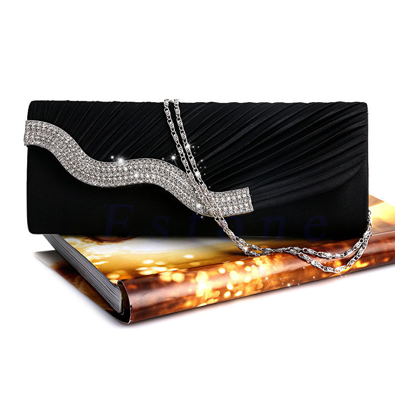 THINKTHENDO  Hot Satin Diamante Pleated Crystal Evening Handbag Wedding Bridal Party Clutch PurseTHINKTHENDO  Hot Satin Diamante Pleated Crystal Evening Handbag Wedding Bridal Party Clutch Purse