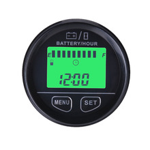 ФОТО  large lcd green backlight display battery gauge volt meter battery indicator with hour meter for atv tractor golf carts