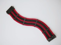 WinfMOD M B ATX 24PIN 18AWG Black And Red Sleeve Extension Power Cable Inbuilt Cable Combs