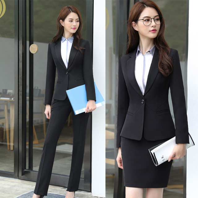 6394fb178d4f business attire Office OL Uniform Designs Women elegant Dark Business Gray  pant Suits Work Wear Jacket
