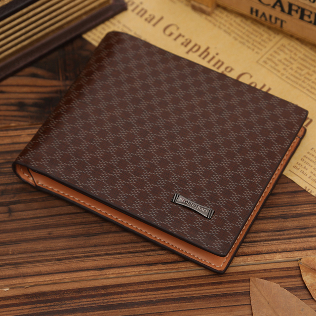 5bfa4ea0a7d1 100% genuine leather wallet Fashion men wallet Short Plaid leather brand  name wallets mens leather wallets for money and cards